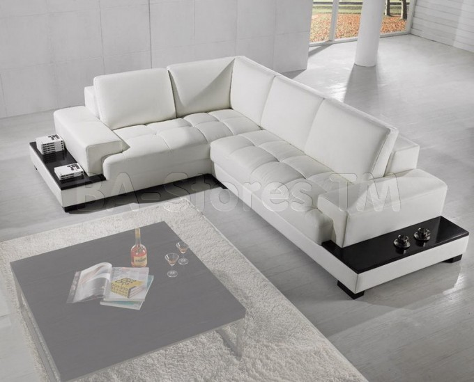 Modern White Leather Sectional Couches On Grey Floor Plus White Carpet And Grey Square Table For Inspiring Living Room Decor Ideas