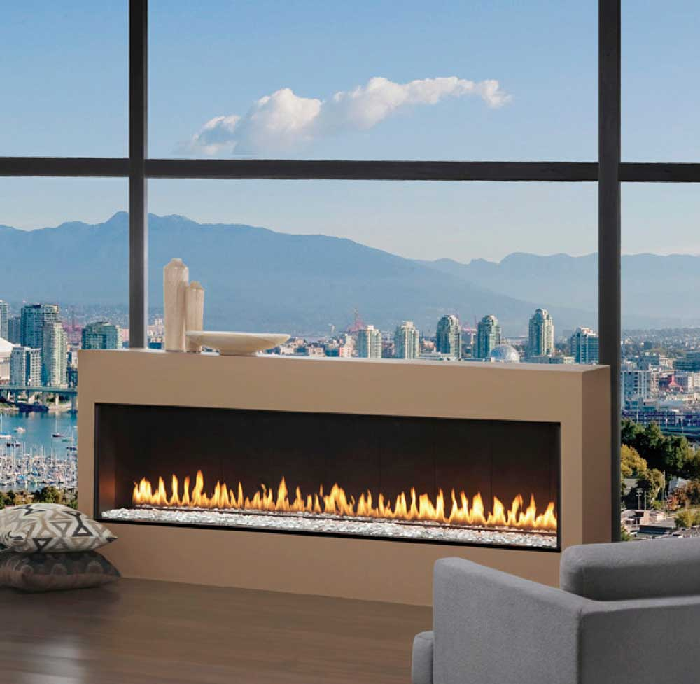 Montigo Fireplace In Tan Befor The Glass Clear Window With Sofa And Wooden Floor For Family Room Ideas