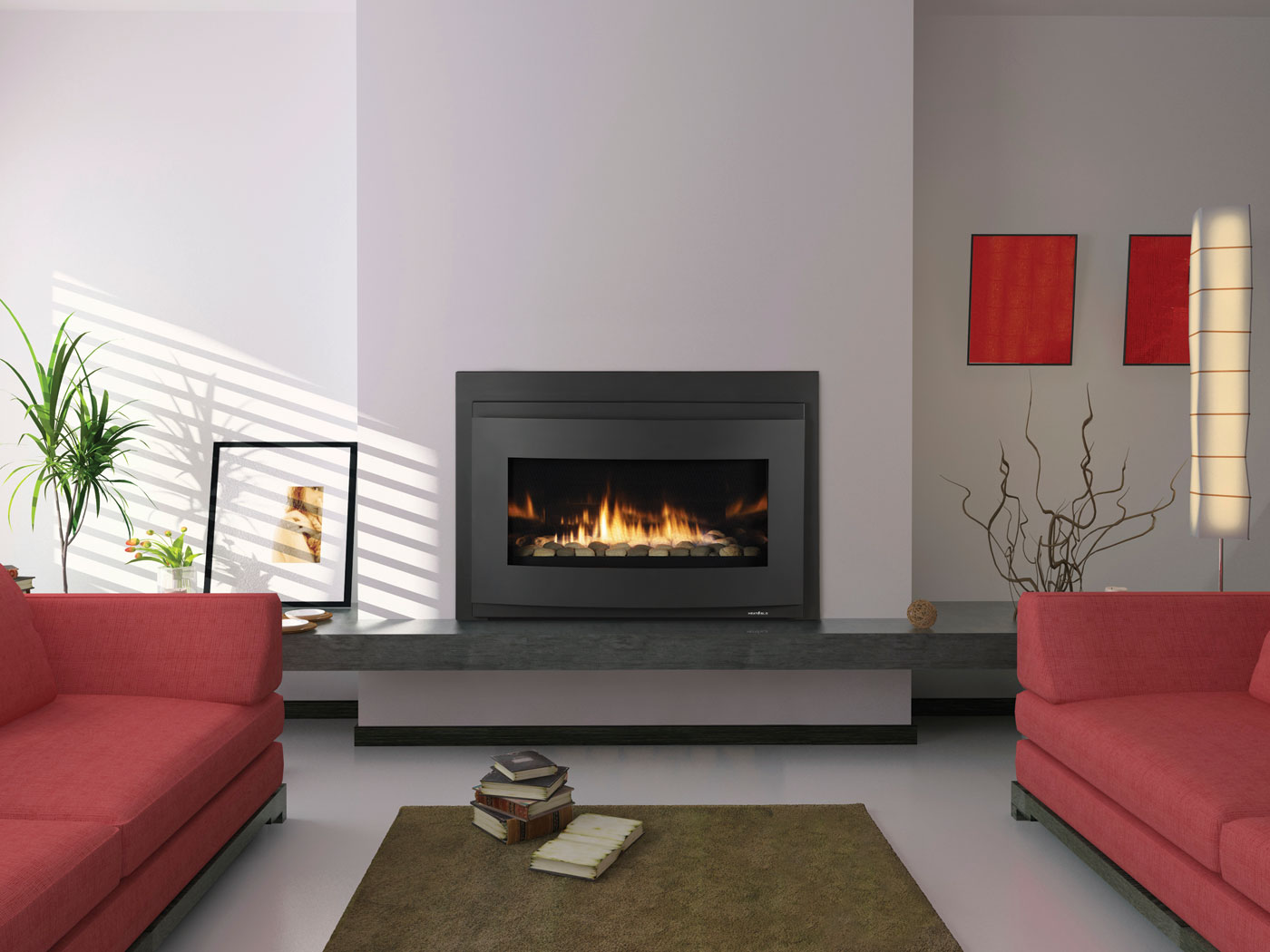 montigo fireplace on white wall plus red sofa plus carpet on white floor ideas