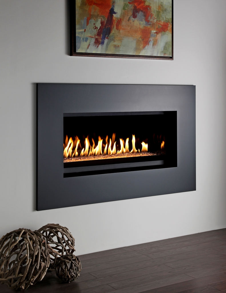 montigo fireplace with black frame on white wall ideas