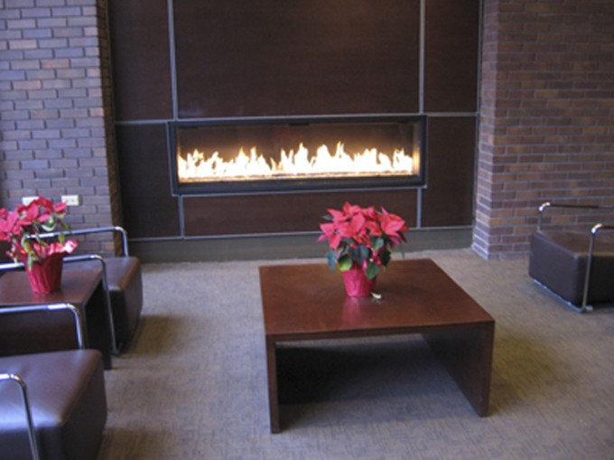 Montigo Fireplace With Sofa Plus Flowers On The Wood Table Ideas