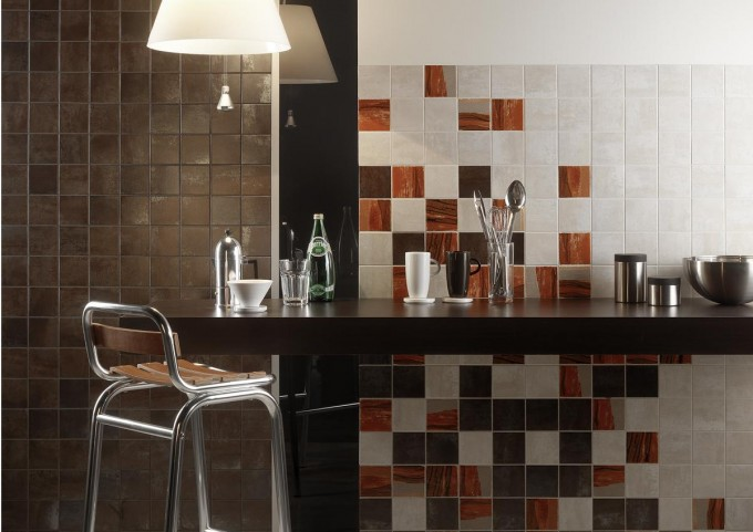Mosaic Wall Decor By Cancos Tile Plus Bar Table And Chandelier Ideas