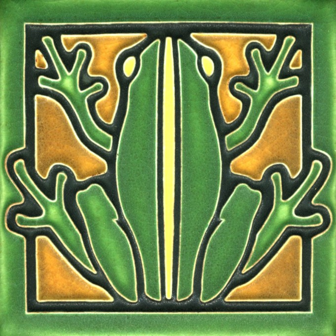Motawi Tile Green Frog 4 X 4 Inches