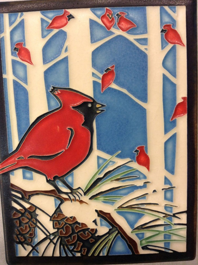 Motawi Tile Red Birds On The Tree For Wall Ornament Ideas