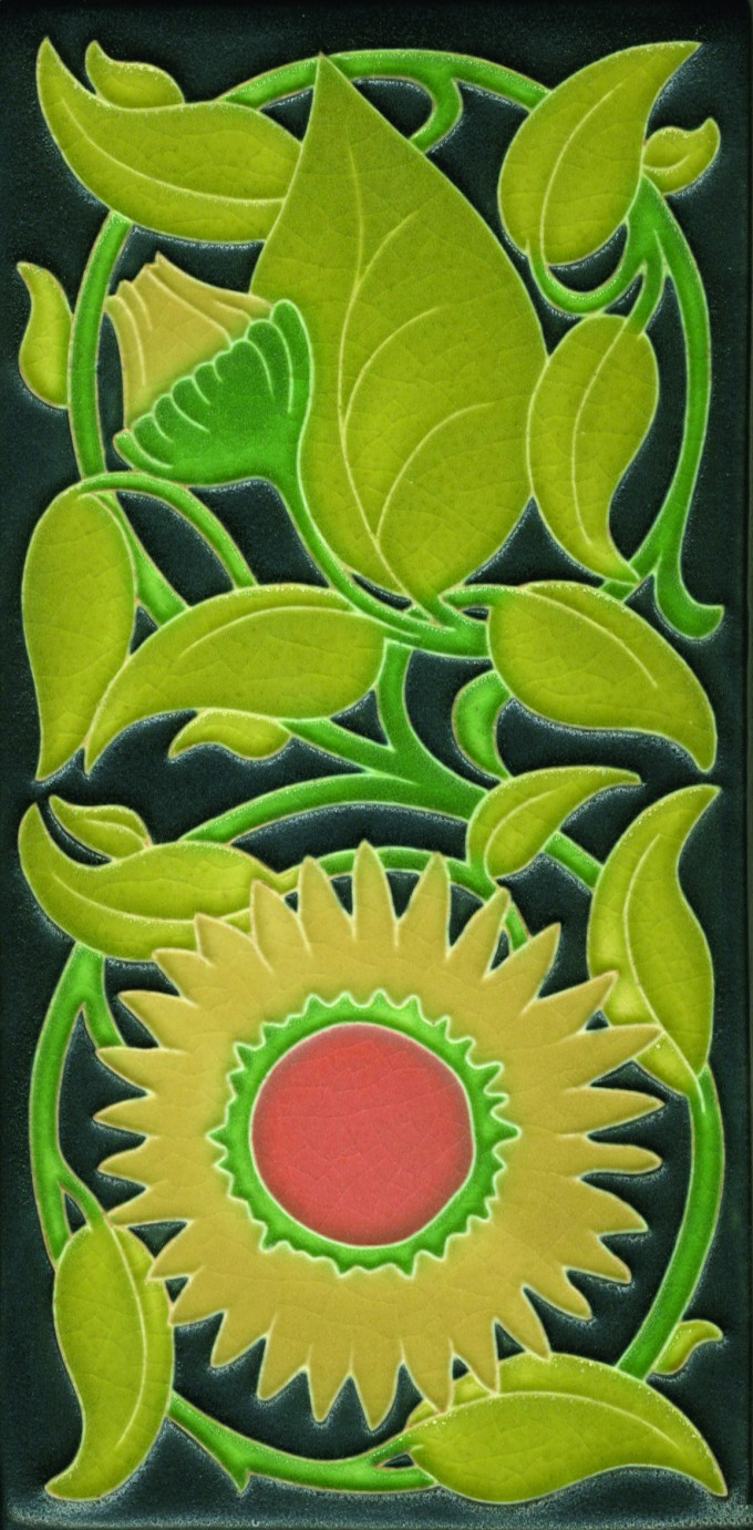 Motawi Tile Sun Flower With Black Background For Wall Ornament Ideas