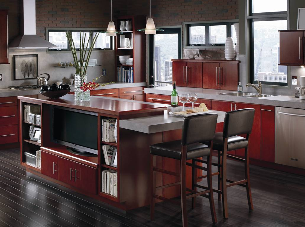 natural brown wood aristokraft cabinets with sink plus chairs and chandelier for kitchen decoration ideas