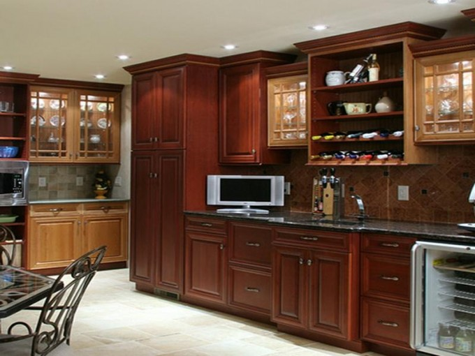 Natural Brown Wood Kitchen Cabinet Refacing Plus Tv Stand And Sink With Kitchen Faucet Plus Show Case Frige For Kitchen Ideas