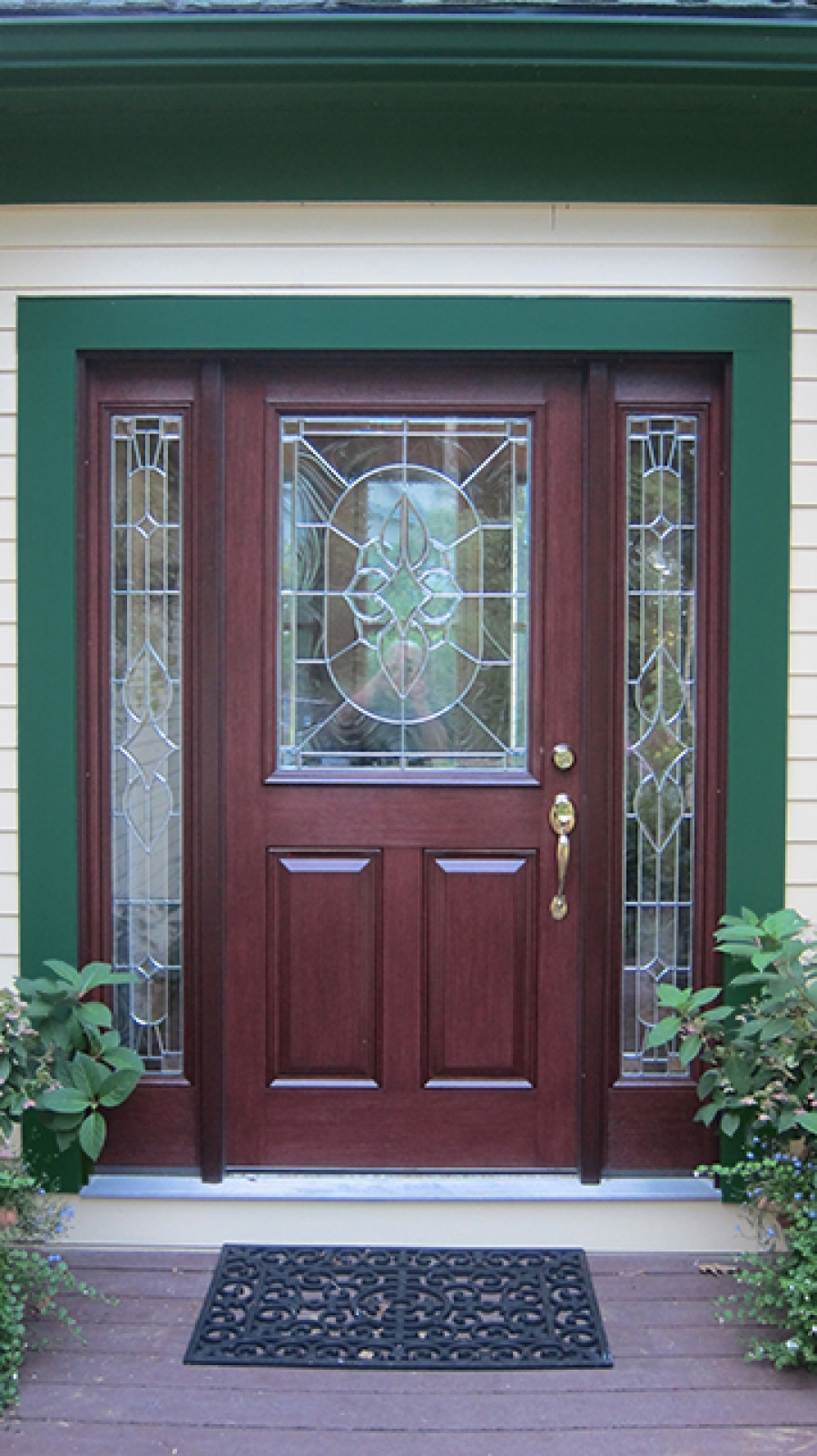natural brown wood therma tru entry doors with golden handle and green door wainscor matched with white wall ideas