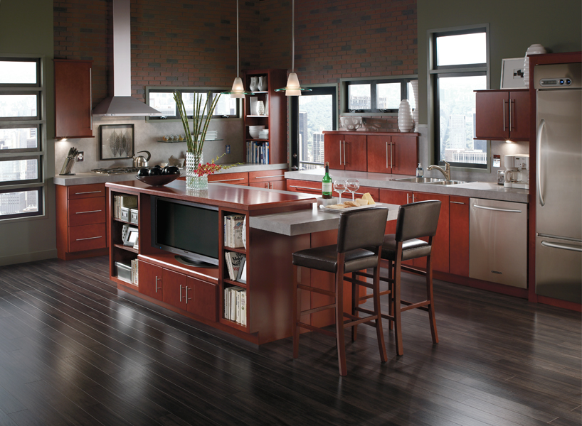 natural brown woon Aristokraft cabinets with sink and frige on black wooden floor ideas