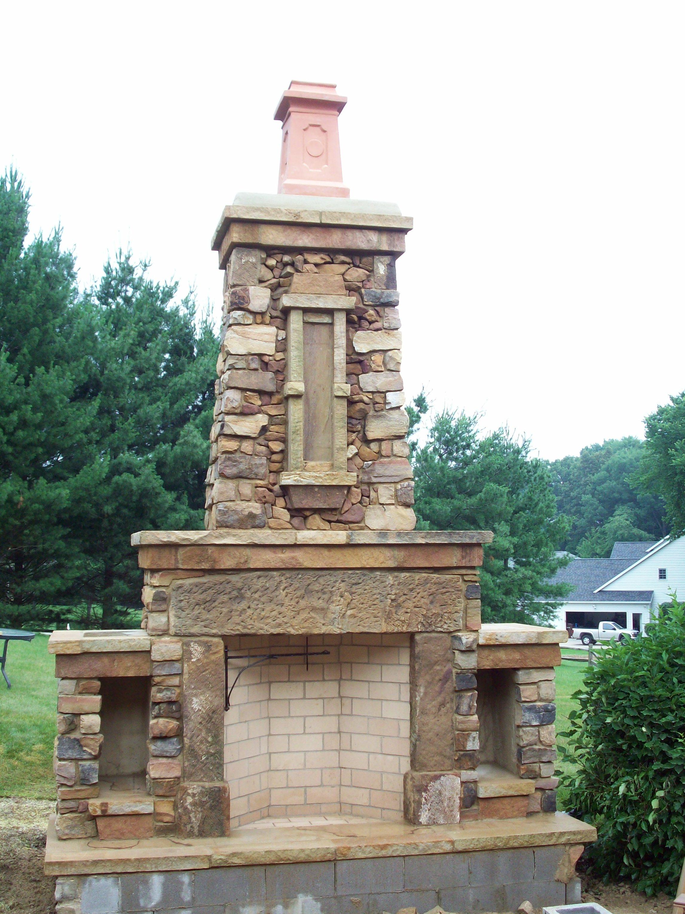 natural stone Rumford Fireplace with chimney for outdoor heat arming ideas