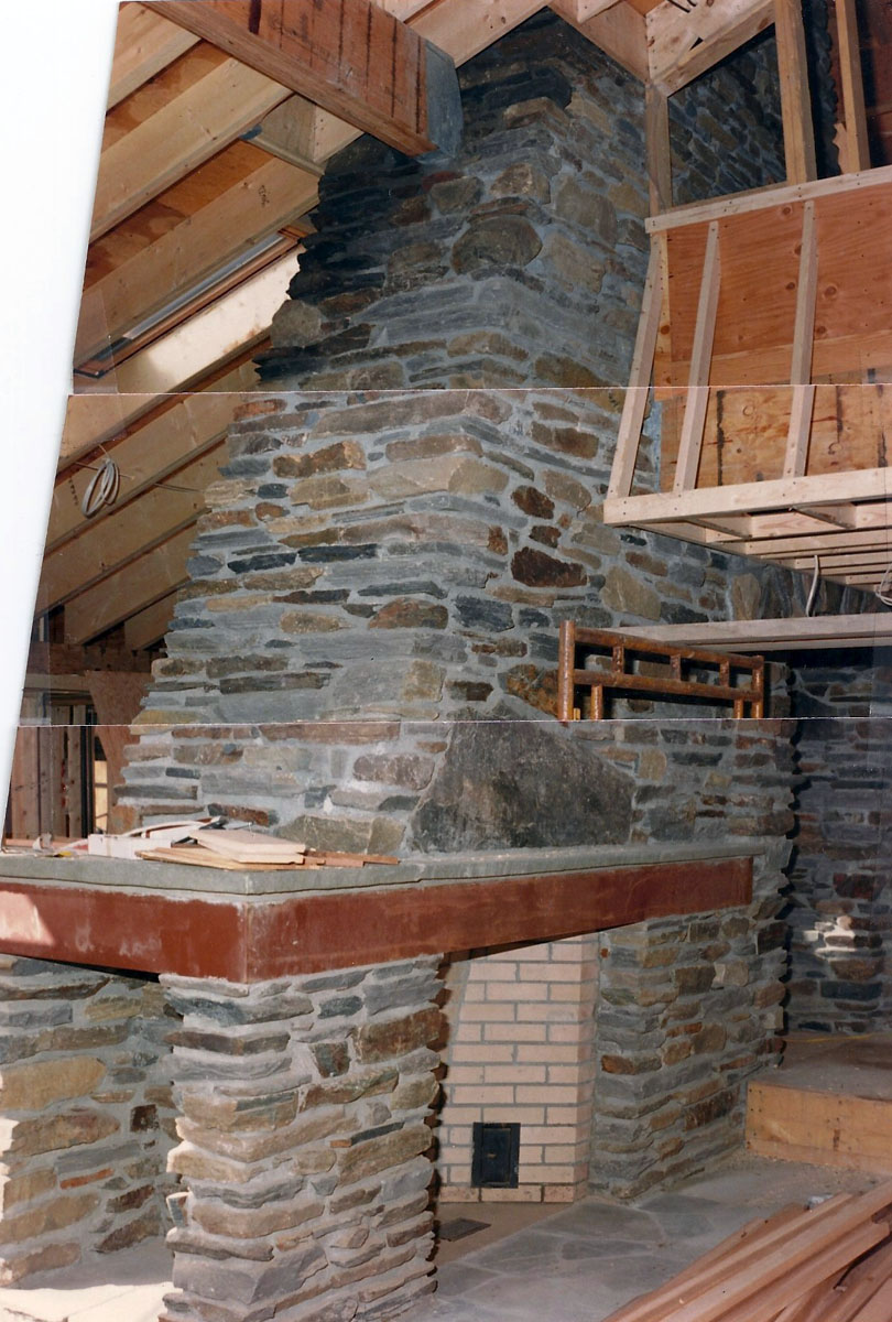 natural stone Rumford fireplace with chimney ideas