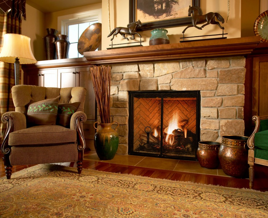 natural Stone Rumford Fireplace with chimney plus floor standing lamp ideas
