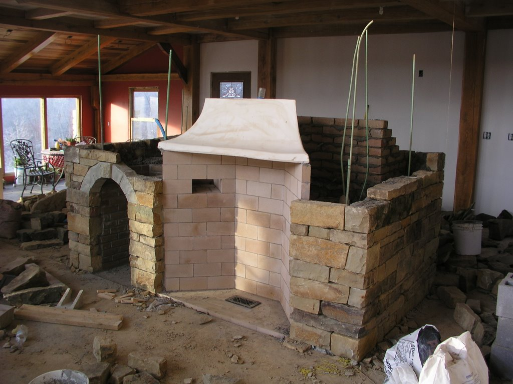natural stone Rumford Fireplace with white throat installation