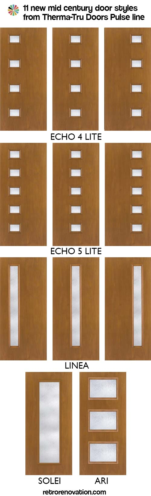 New mid century doors available from therma tru entry doors