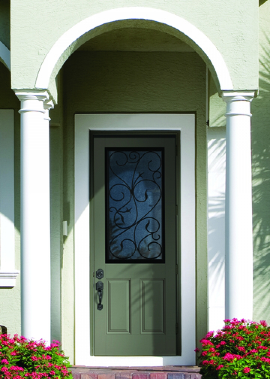 olive therma tru entry doors with black handle matched with olive wall ideas