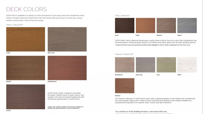 Options Of Azek Decking Colors