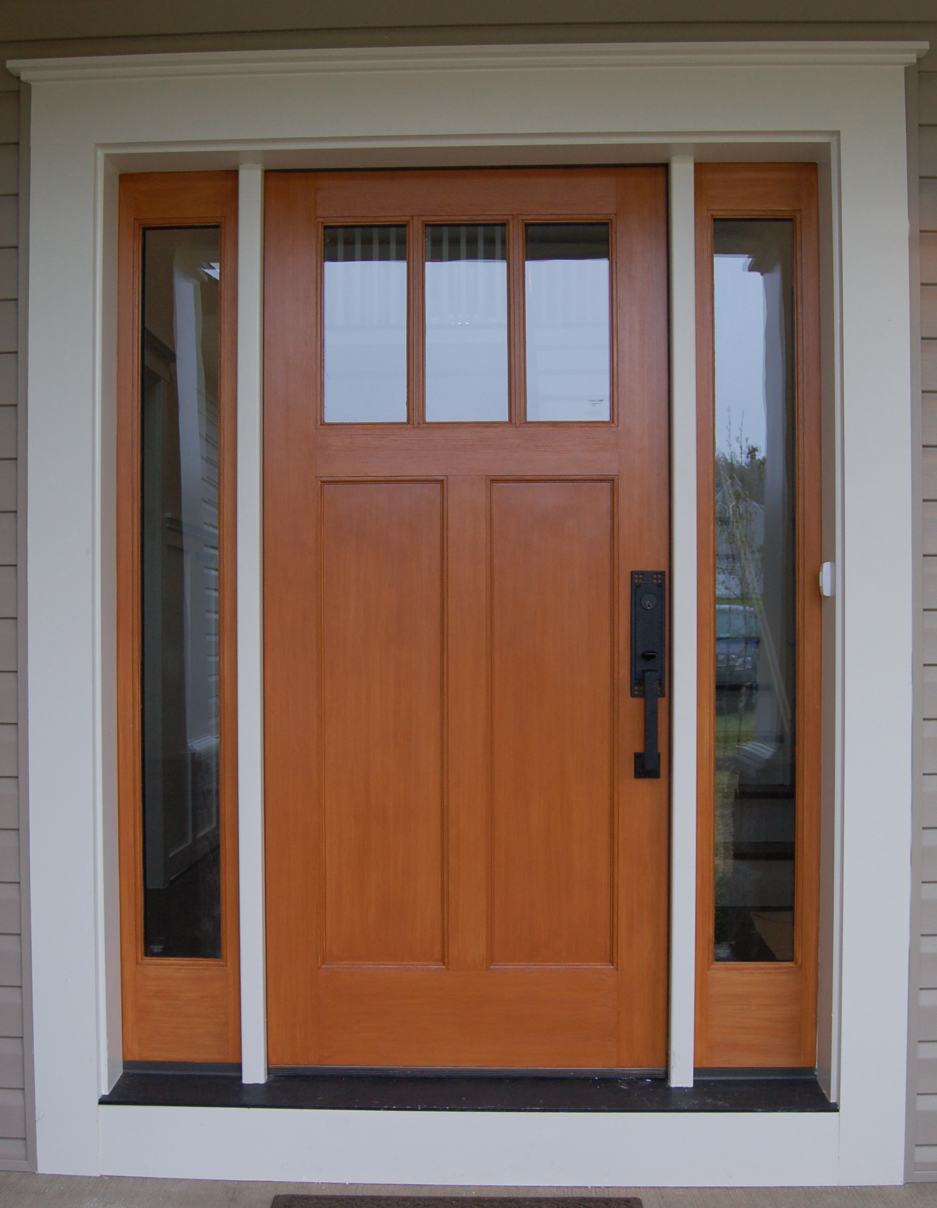 Orange Reliabilt Doors With Black Handle Matched With Double Glass Window Ideas
