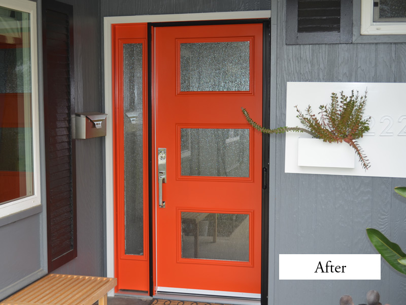 orange therma tru entry doors with silver handleset handle matched with grey wall ideas