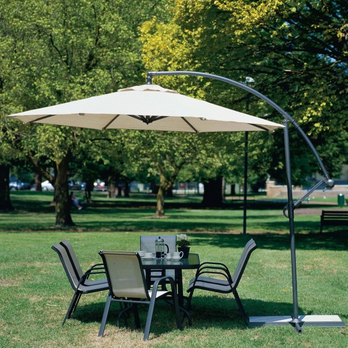 Outdoor And Garden White Patio Cantilever Umbrella With Chairs And Table Idea For Outdoor Ideas
