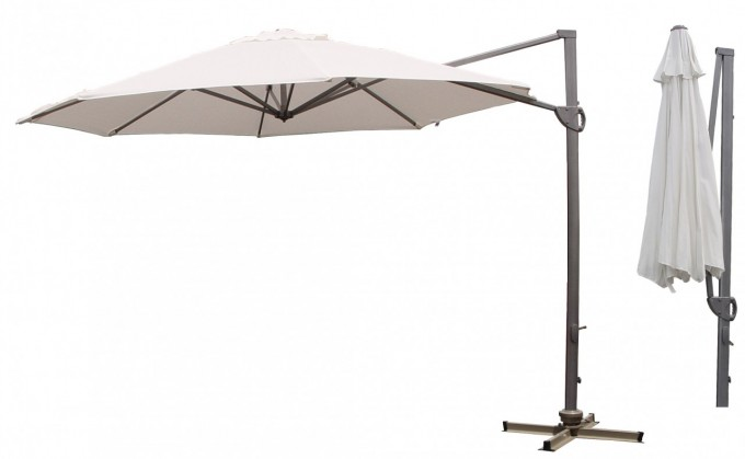Outdoor Cantilever Umbrella In White With Black Stand For Patio Furniture Ideas