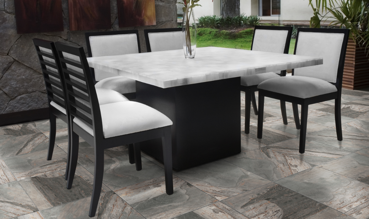 outdoor dining space with emser tile flooring plus dining table ideas