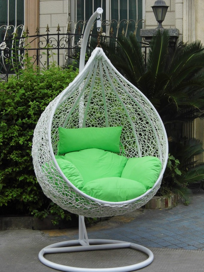 Outdoor Space With White Swingasan Chair And Green Cushion Ideas