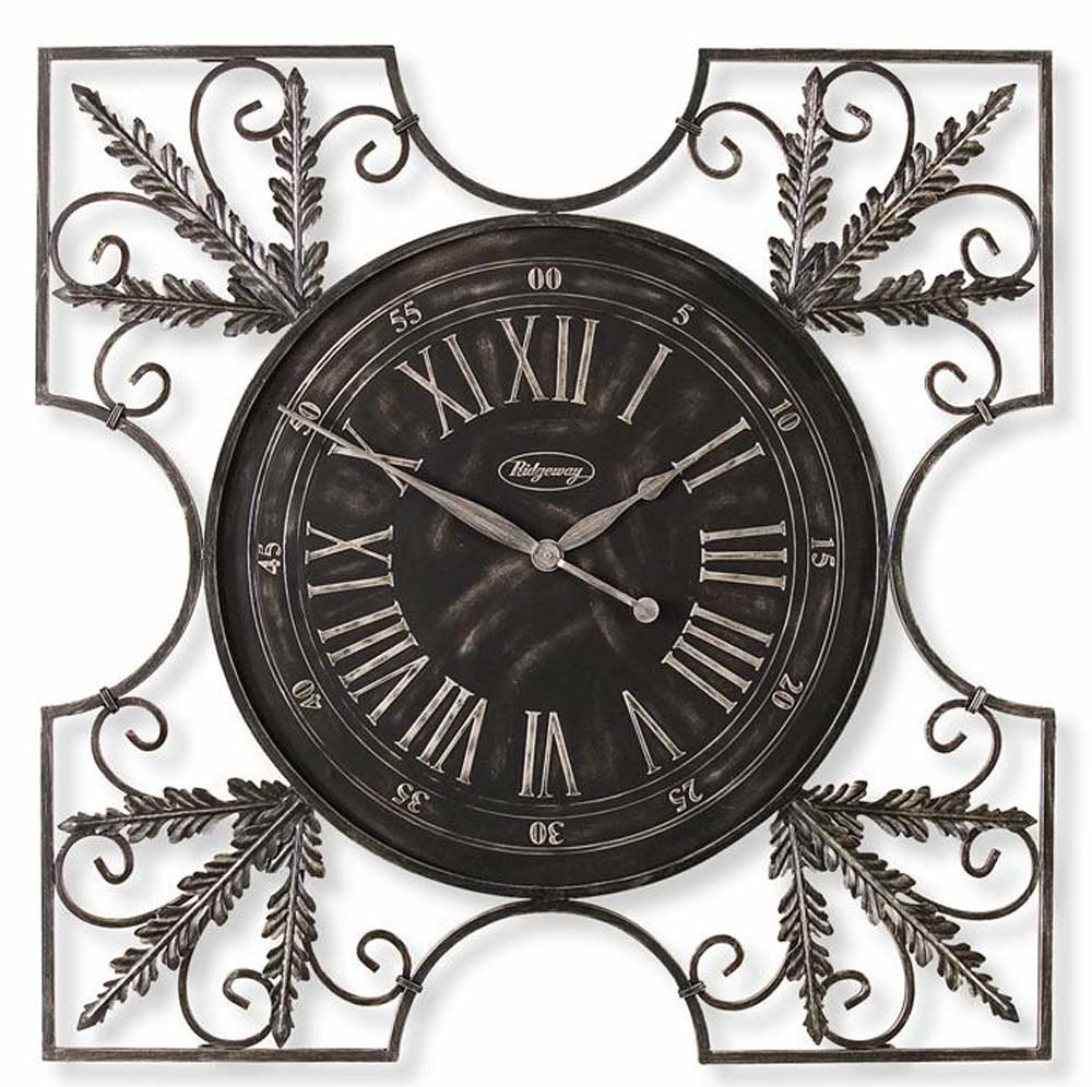 oversized Wall Clock with floral ornament for charming wall accesories