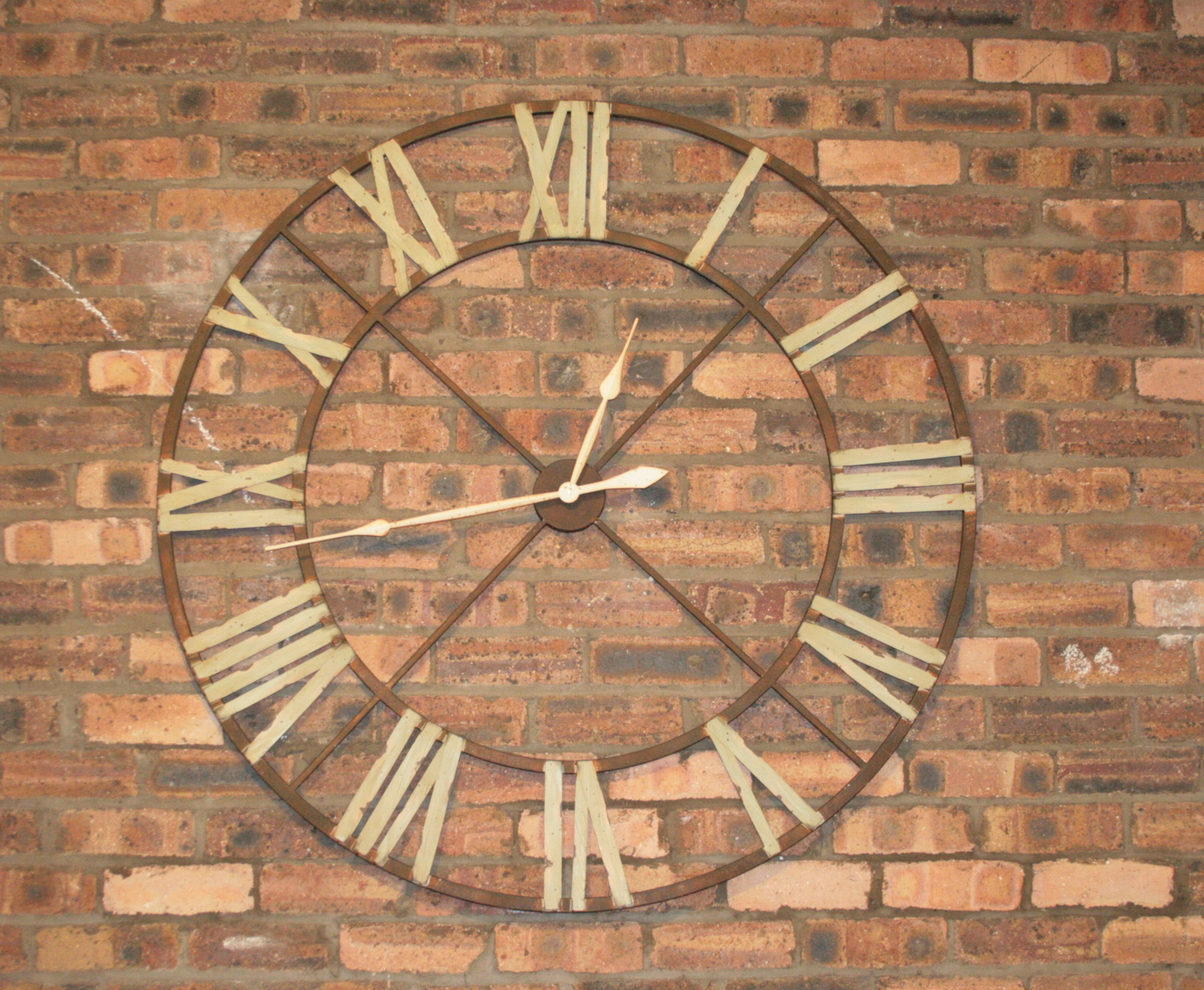 Furniture rustic oversized wall clocks in brown oversized wall clock with roman numerals on brick wall amipublicfo Choice Image