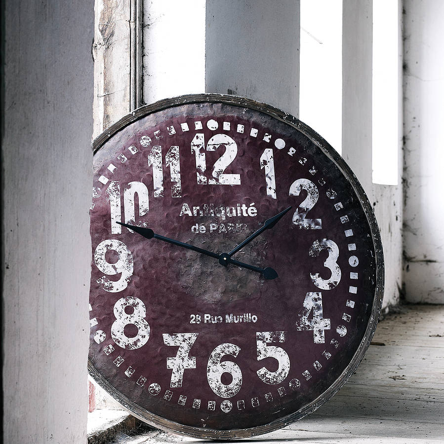 oversized Wall Clock with with purple background and black numeral Ideas
