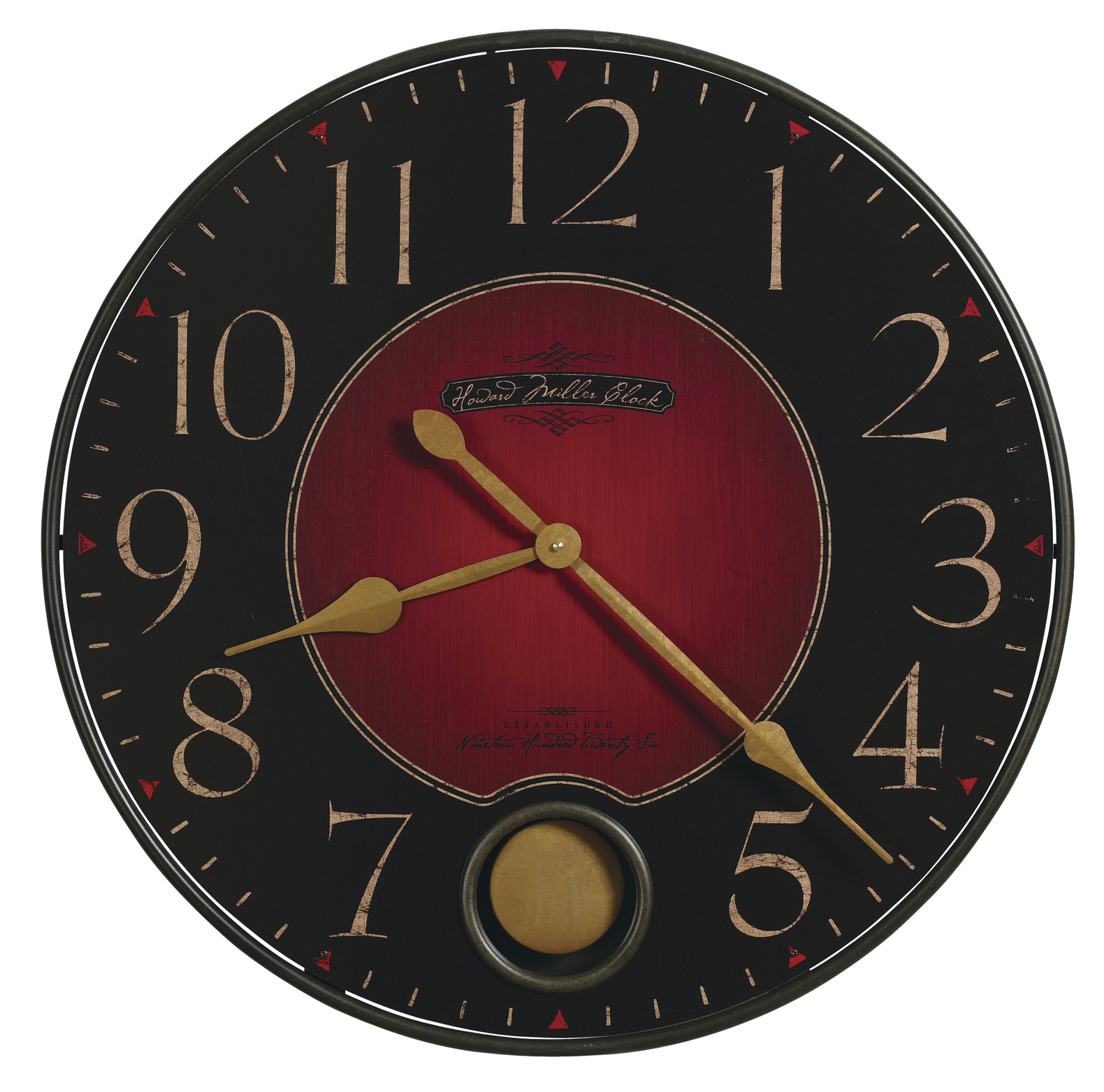 Oversized Wall Clocks with golden hand plus red and black background