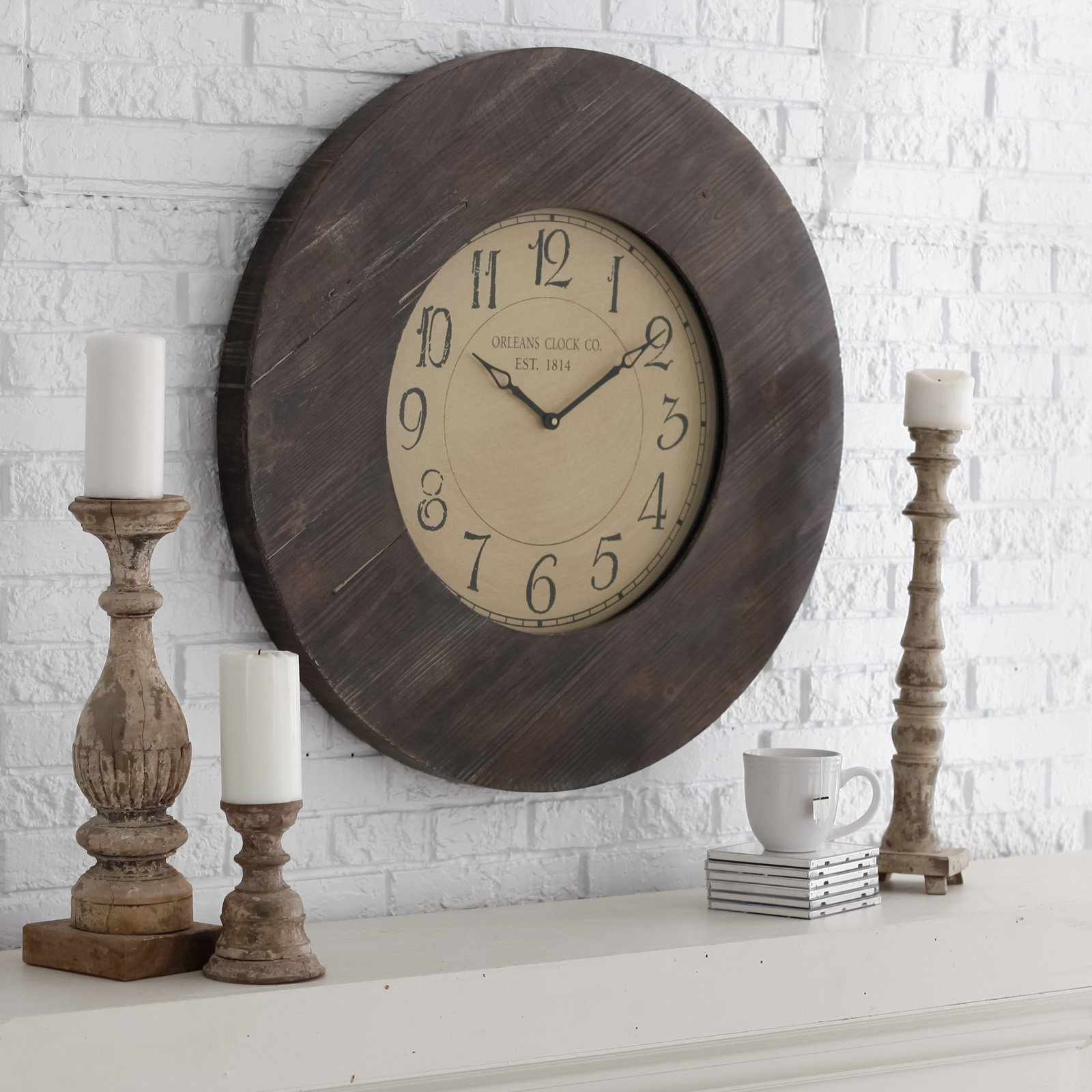 Furniture rustic oversized wall clocks in brown oversized wall clocks with wooden frame on white wall amipublicfo Choice Image