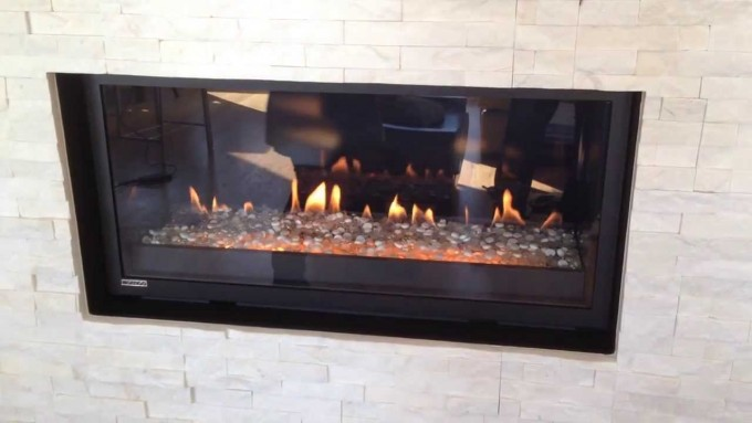 P52DF Montigo Fireplace Matched With White Bricked Wall Ideas