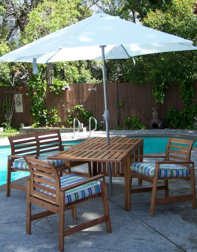 Patio Design With Sofa With Blue Striped Seat By Sprintz Furniture Near The Swimming Pool Ideas