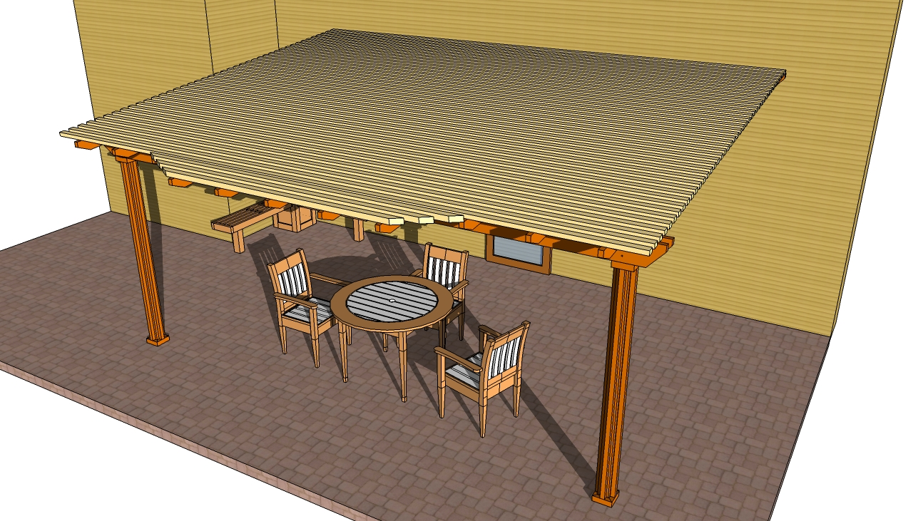 Patio pergola plans with roof ideas with chairs and table on grey floor