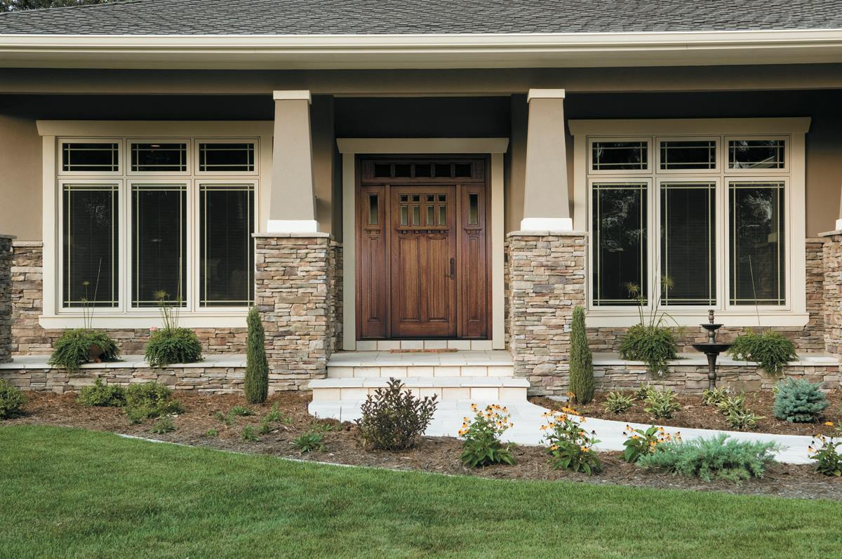 Pella Windows and peru Door plus gray wall and tile for home exterior ideas