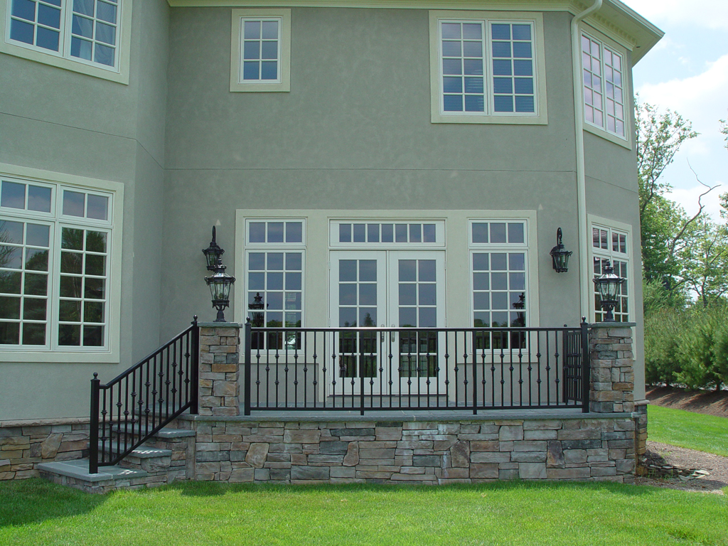 Pella Windows Matched With Grey Wall Plus Black Railing For Exterior Design  Ideas