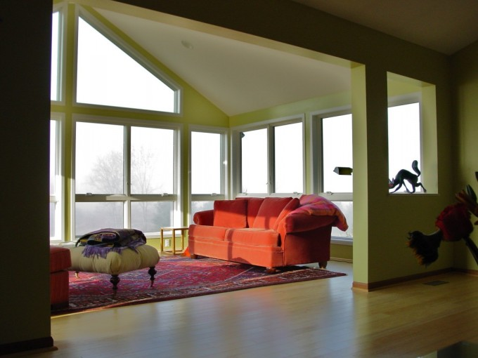 Pella Windows Sunroom Addition In Dexter With Green Wall Plus Wooden Floor