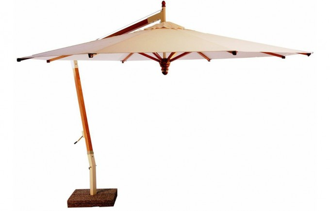 Pendulum Cantilever Umbrella In Cream With Metal Stand For Outdoor Furniture Ideas