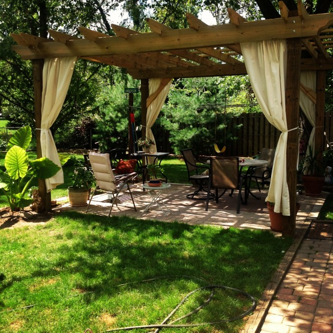 Pergola Plans Decorating Ideas With Chairs And Table Plus White Curtains On Props