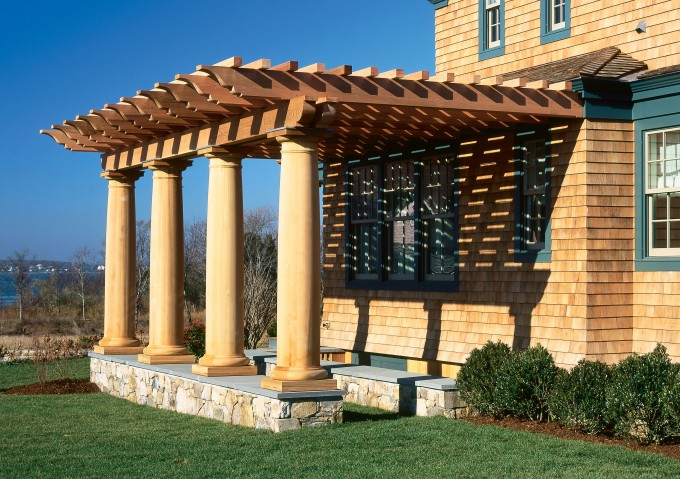 Pergola Plans Designs With Cream Pole And Matching Color Wall