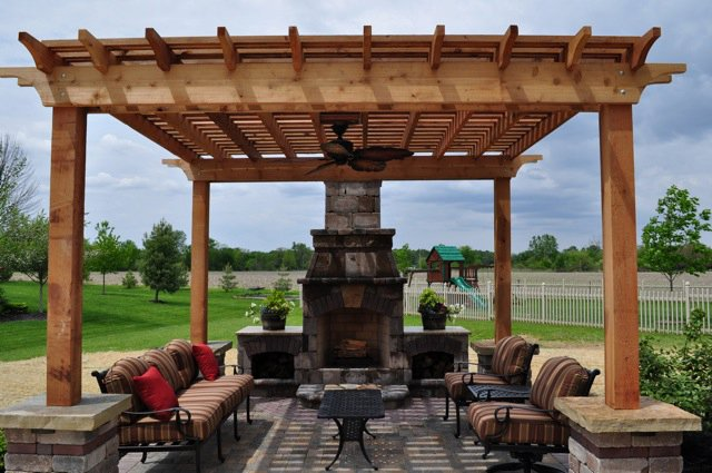 Pergola plans for the Best Outdoor Decorating Home Arrangement with sofa set plus flowers