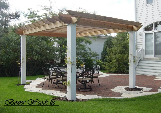 Pergola Plans With Brown Top And White Prop Ideas With Chairs And Table