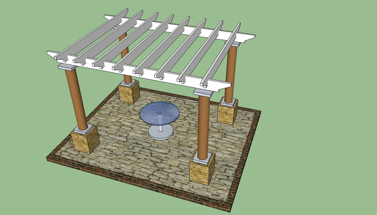 pergola plans with white top and brown prop ideas with a single table on center