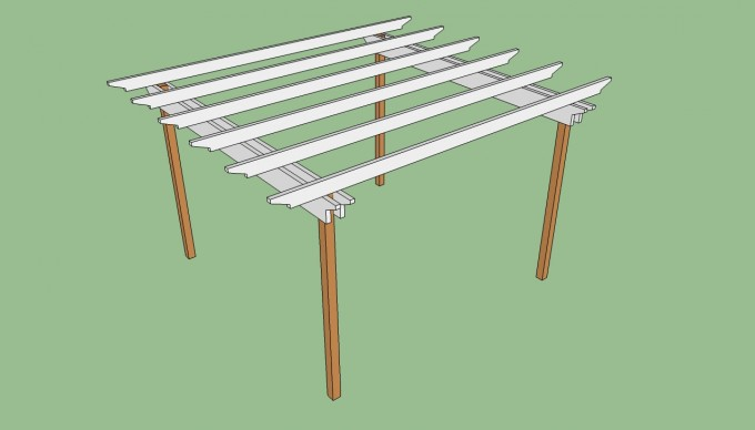 Pergola Plans With White Top And Tan Prop