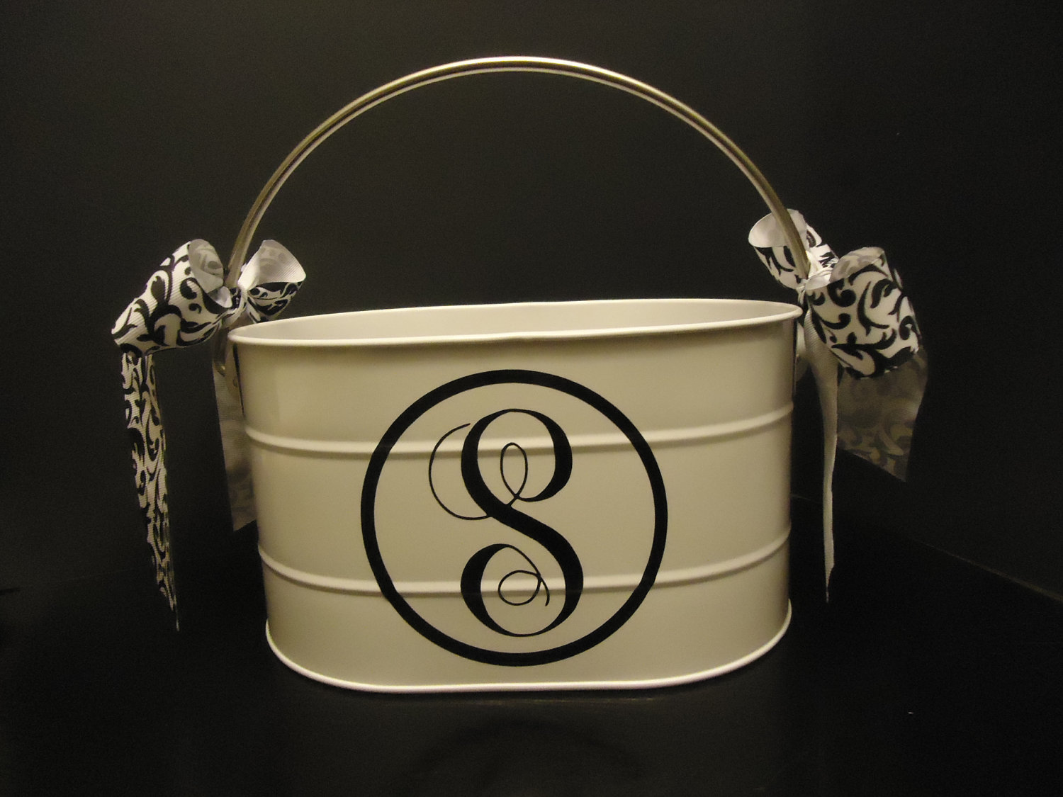 Personalized utensil caddy in cream with ribbon on handle ideas
