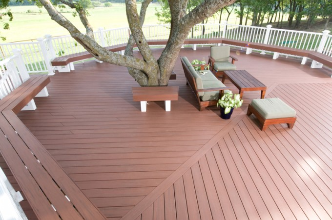Peru Azek Decking And White Railing Plus Chairs And Tree For Beautiful Deck Ideas