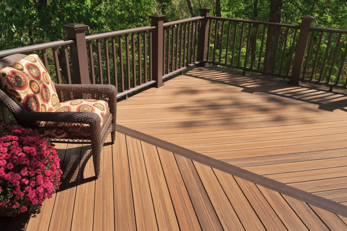 Peru Evergrain Decking Matched With Brown Railing Plus Chair With Floral Set Ideas