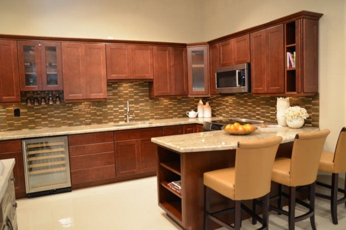 Peru Lafata Cabinets With Wheat Countertop Plus Sink And Oven Plus Chairs For Kitchen Ideas