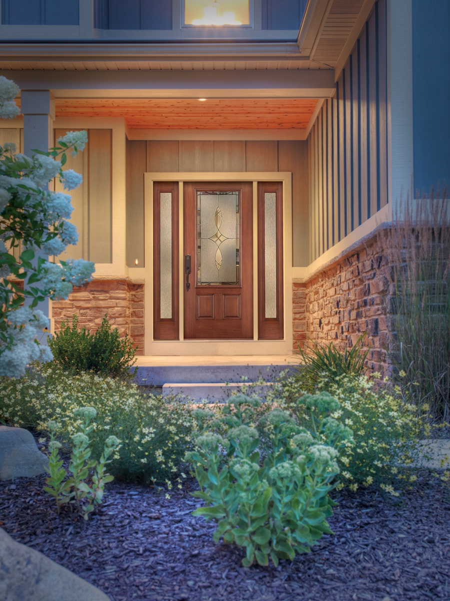 peru therma tru entry doors matched with stone wainscoting wall ideas