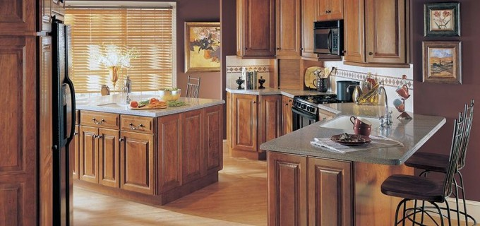 Peru Thomasville Cabinets Grey Countertop And Tile Back Splash Plus Oven On Wooden Floor For Kitchen Decor Ideas